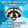 when the clock factory burned,